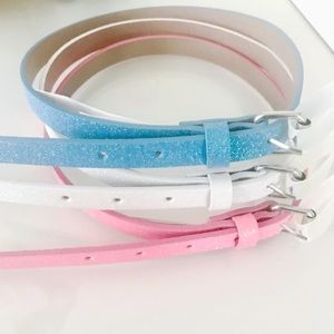 Girls' 3pk Skinny Glitter Belts